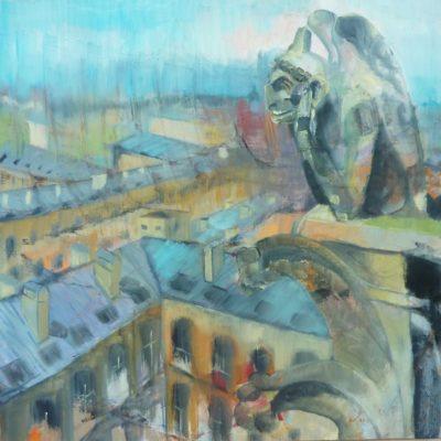 Chimera, Notre Dame de Paris, n. 2 - olio e acrilico su tela - 70x70 Disponibile