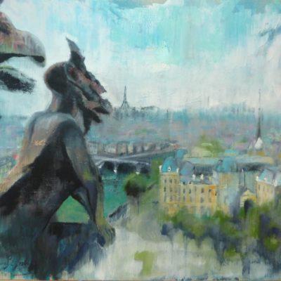 Chimera, Notre Dame de Paris, n. 1 - olio e acrilico su tela - 70x80 Disponibile