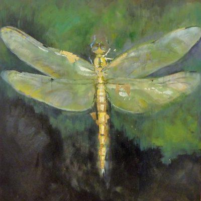 Dragonfly - olio e foglia oro su tela - 80x90 Disponibile