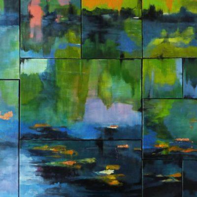 Mosaico d'acqua - 15 tele a mosaico olio e acrilico su tela - 100x160 Coll. Privata