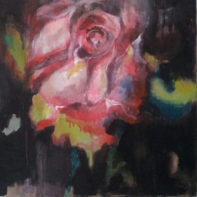Rosa rossa, olio e acrilico su tela - 60x60 Disponibile