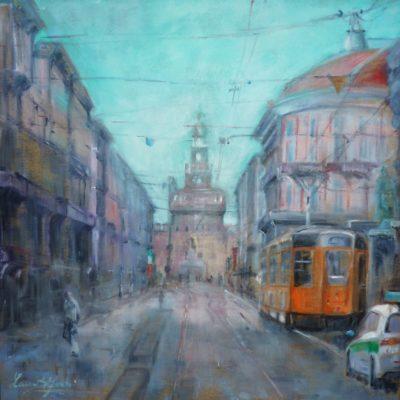 Via Dante. Milano - olio su tela - 80x80 Coll. Privata